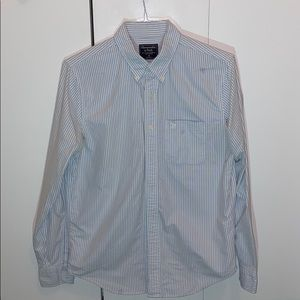 A&F Long Sleeve Blue+White Casual Dress Shirt (M)